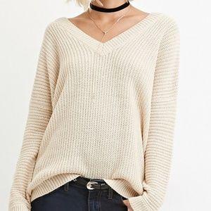 Back cutout v neck cream sweater